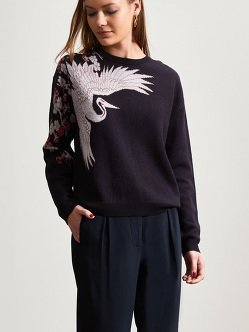 Wool Crane Jacquard Sweater