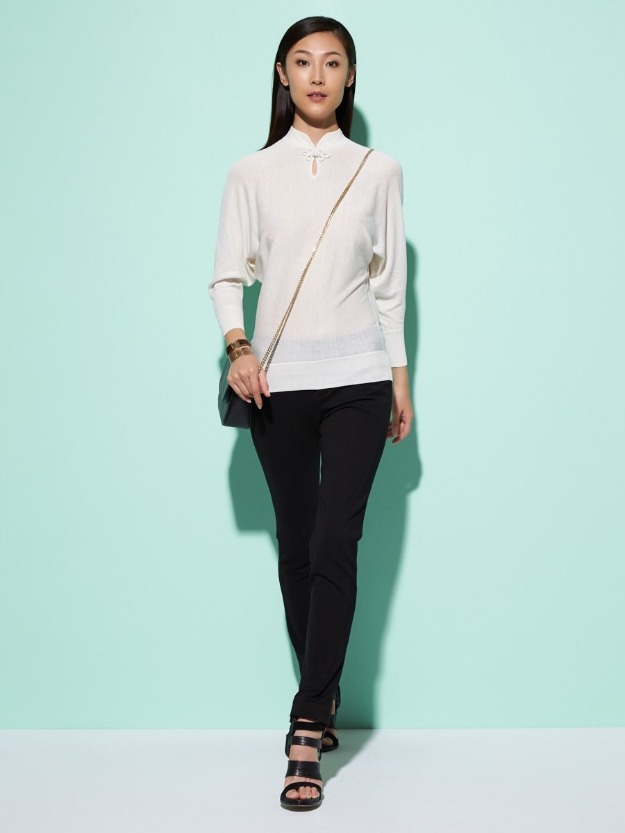 Silk-Cotton Batwing Sweater