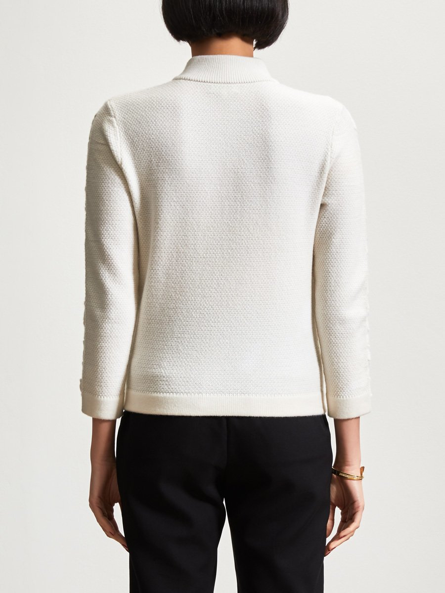 Wool-Cashmere Plaited Long Sleeve Sweater