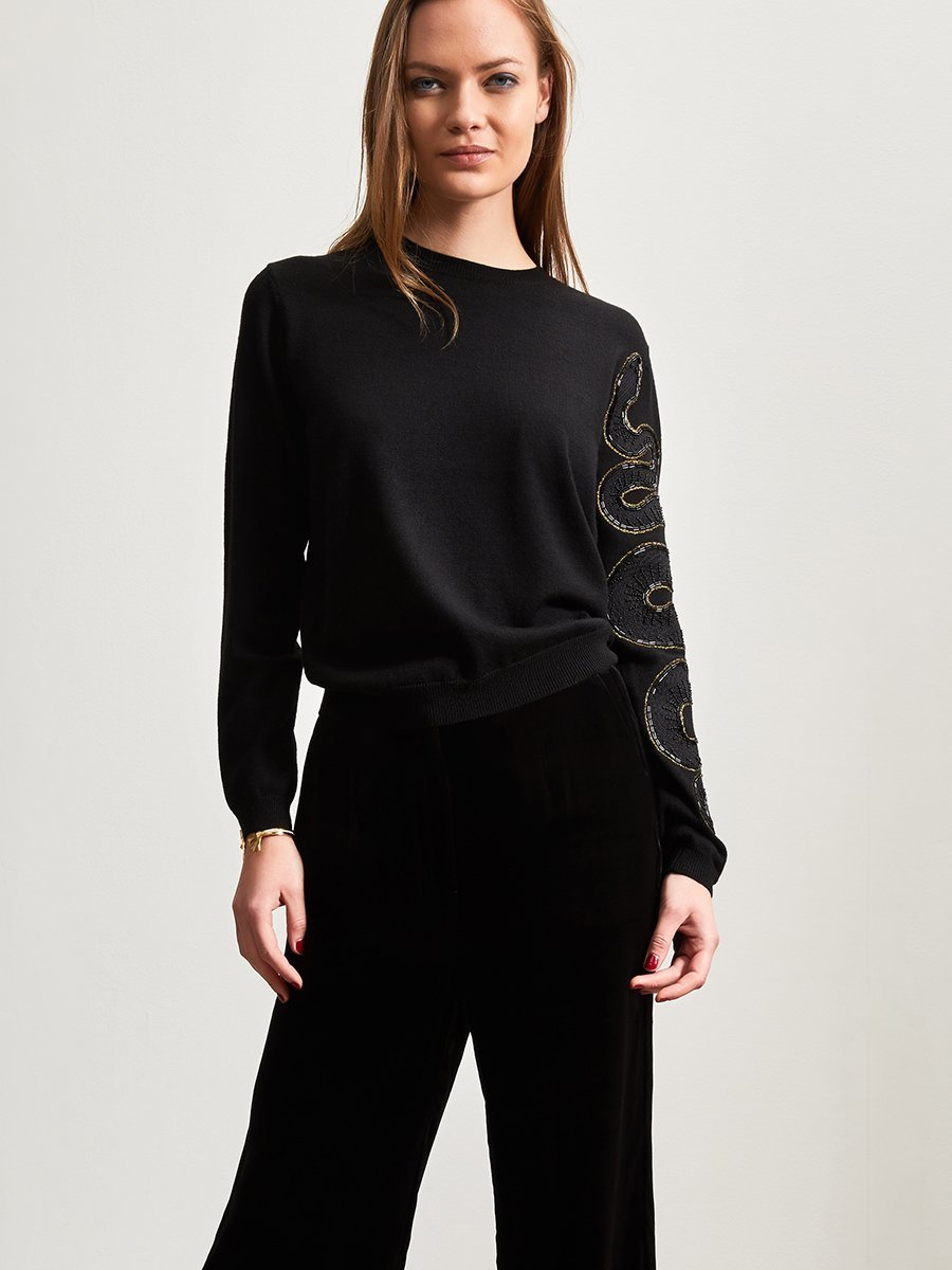 Wool Snake Embellishment Sweater