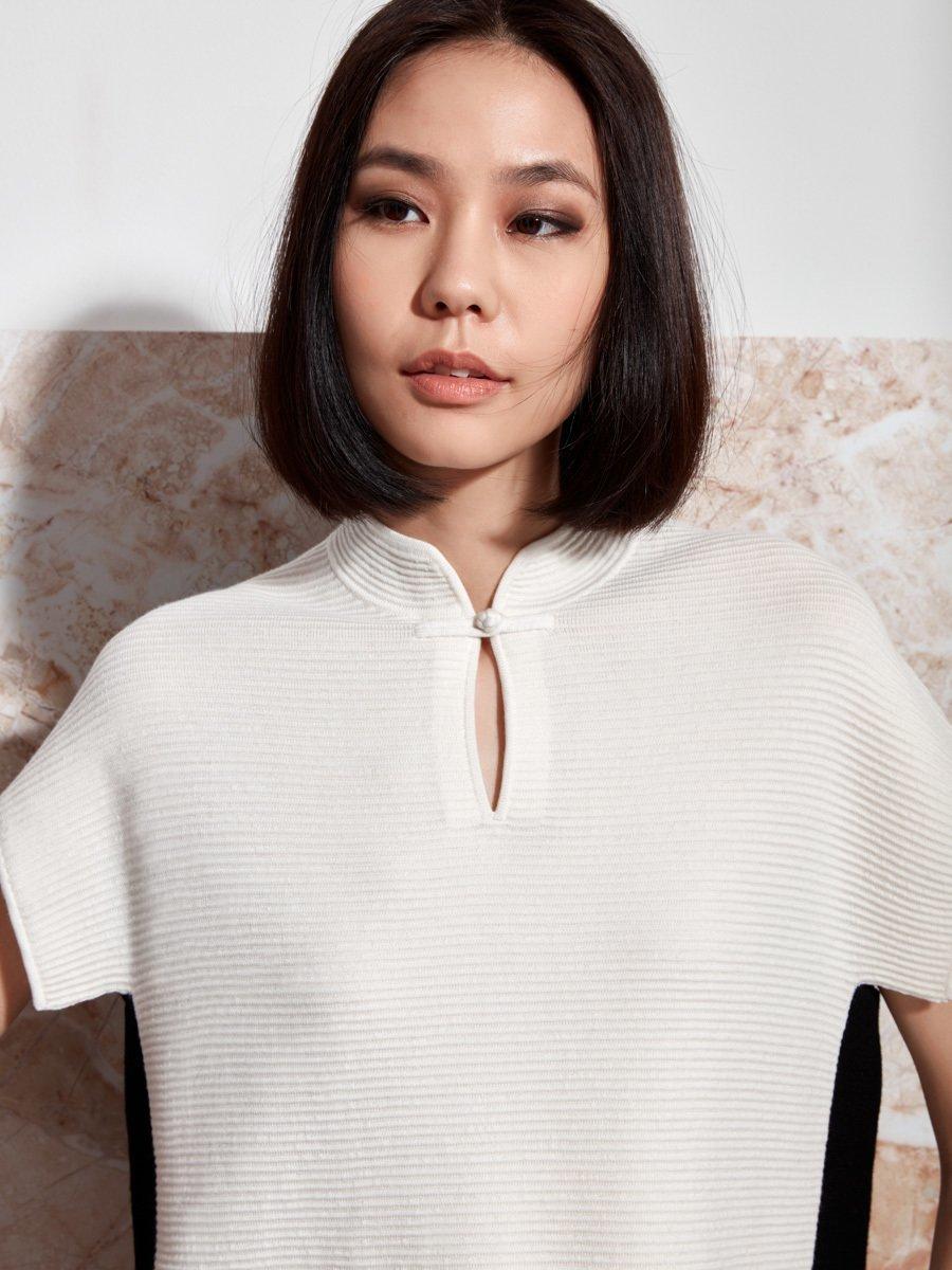 Wool Contrast Ottoman Sweater