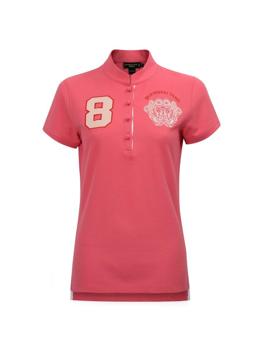 8 Floral Embroidery Cotton Pique Polo Shirt