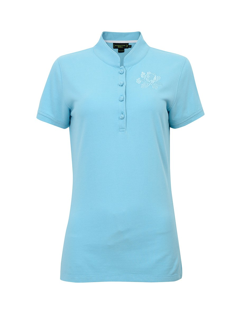 Floral Embroidery Cotton Pique Polo Shirt