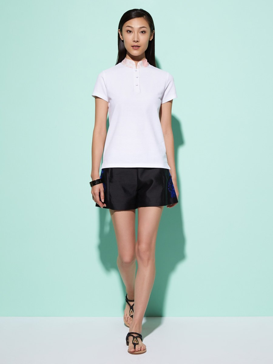Cotton Pique Top with Print Silk Collar