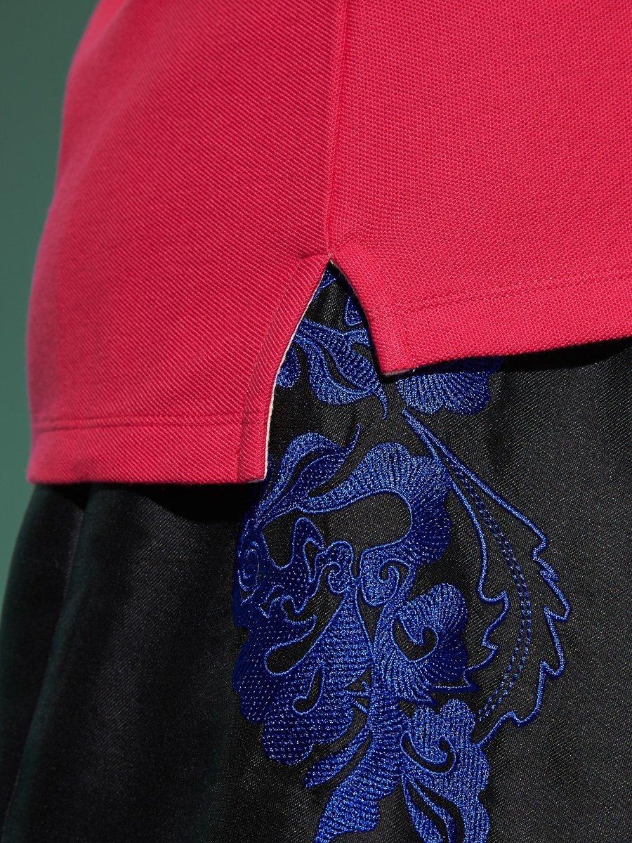 8 Peony Embroidery Cotton Pique Polo Shirt