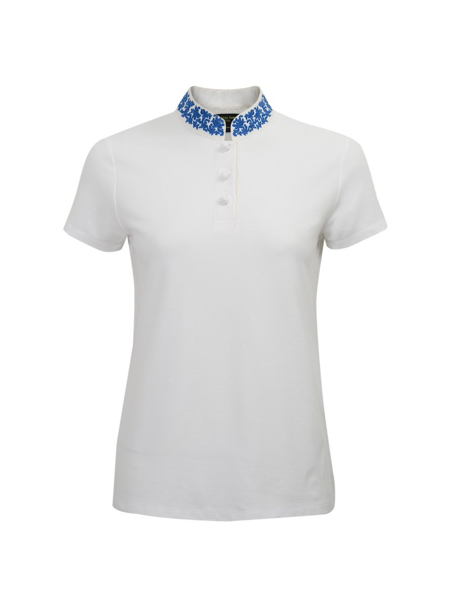 Cotton Pique Polo Shirt With Embroidered Silk Collar (Slim Fit)