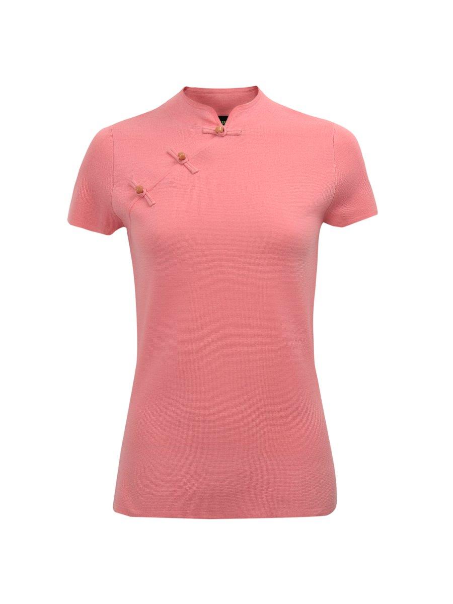 Silk-Cotton Stone Button Short Sleeve Qipao Top