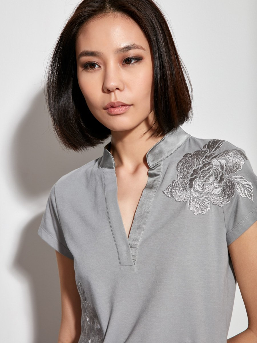 Floral Embroidery Cotton Stretch Top