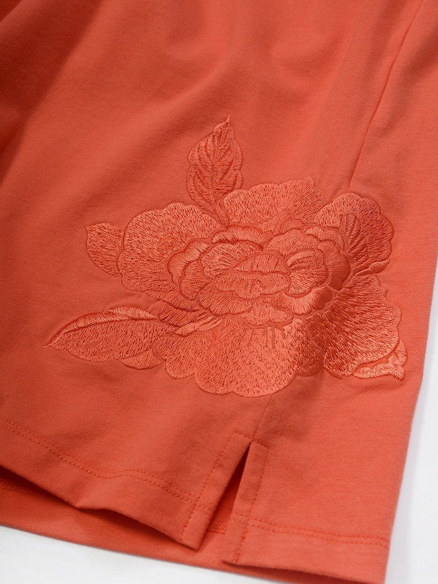 Cotton Spandex Floral Embroidery Short Sleeve Top