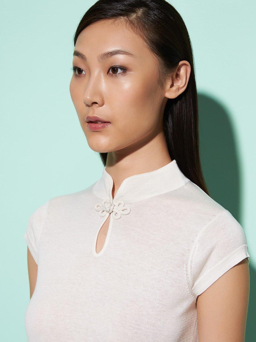 Silk-Cotton Cap Sleeve Qipao Top