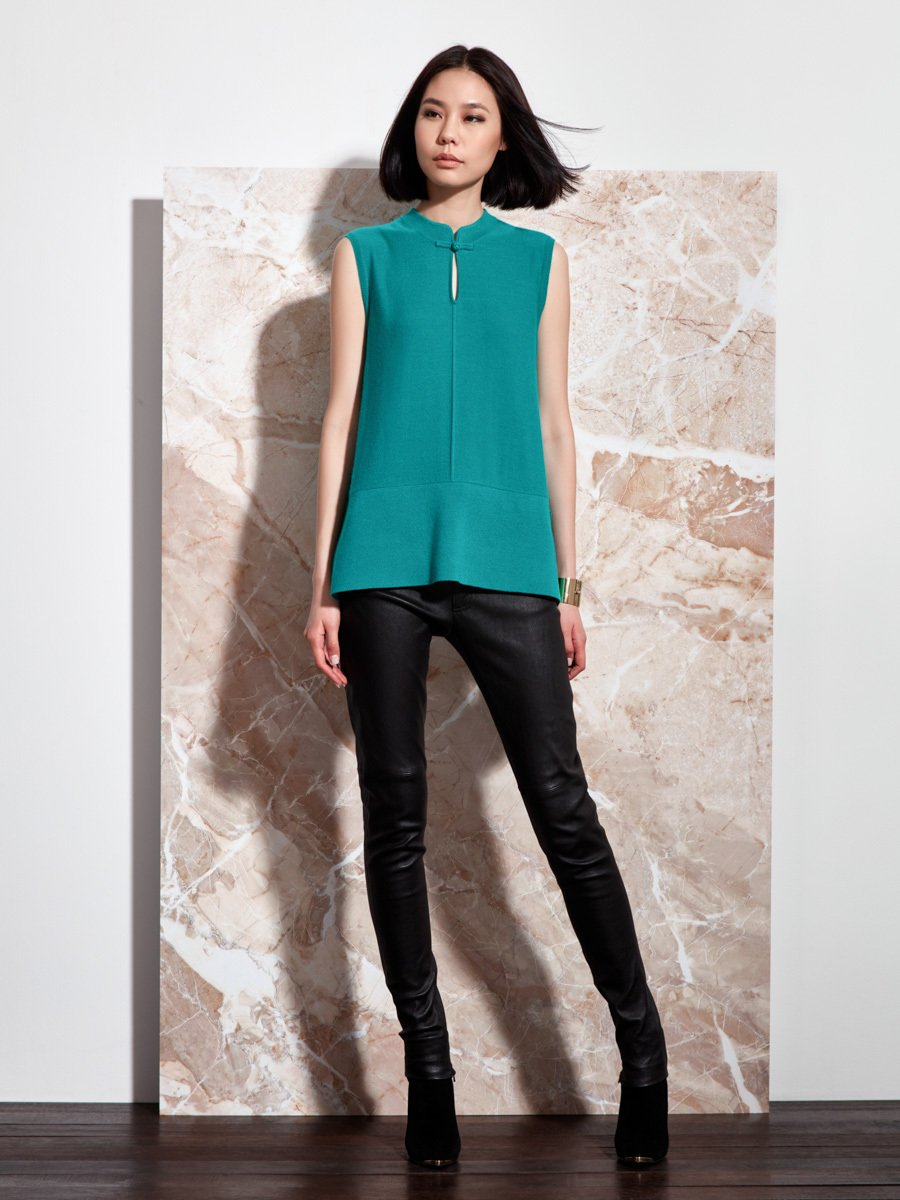 Color Block Cashmere Sleeveless Top