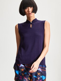 Silk-Cotton Woven Back Sleeveless Top