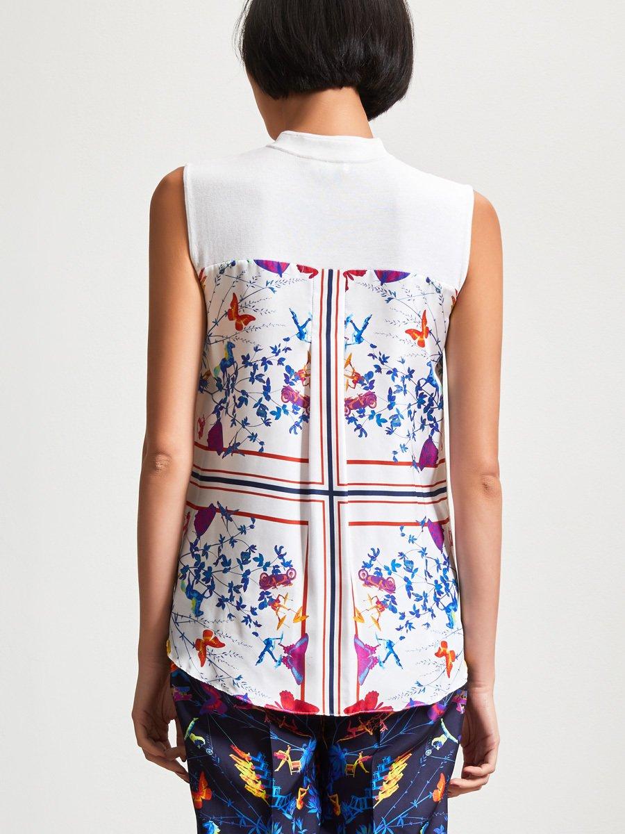 Silk-Cotton Woven Back Sleeveless Top