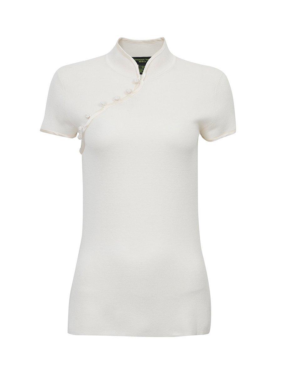 Silk-Cotton Satin Button Short Sleeve Qipao Top