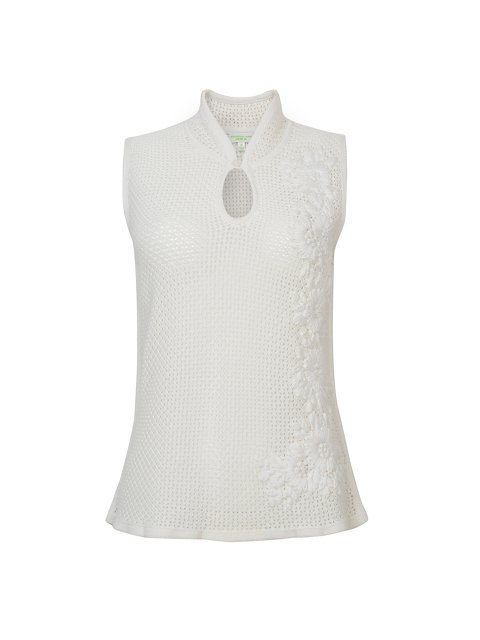 Cotton Mesh Hand Embroidered Sleeveless Top