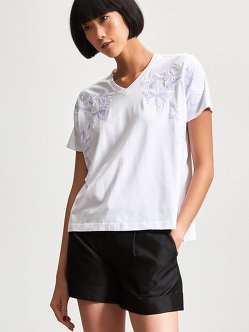 Cotton Butterfly Embroidery T-Shirt