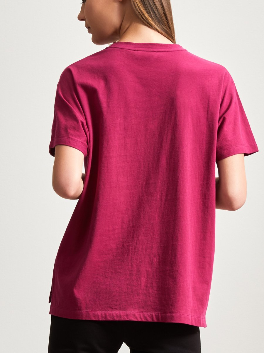 Cotton Print Embroidery Crane T-Shirt