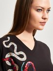 Cotton Print Embroidery Snake Patch T-Shirt