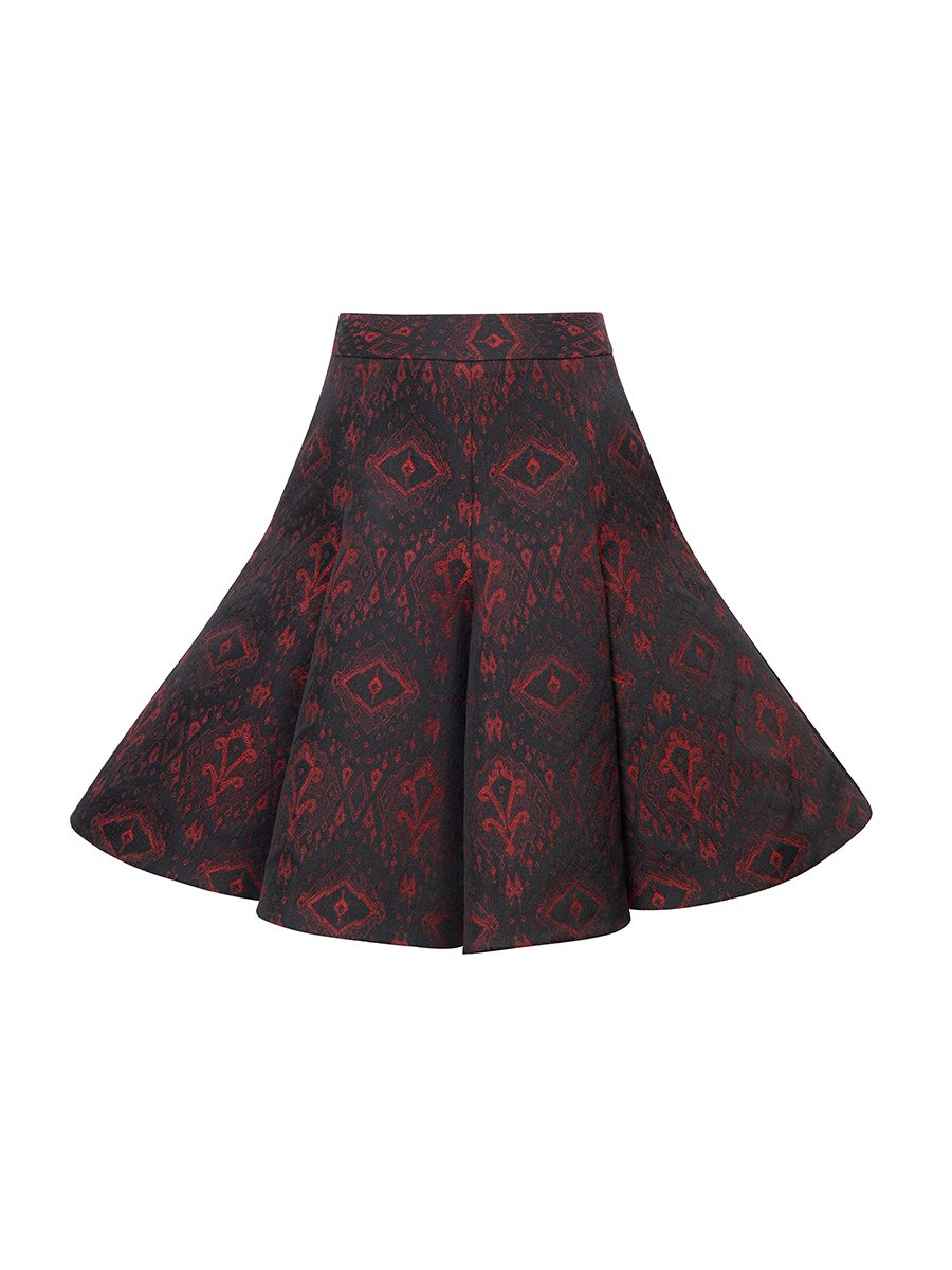 Ikat Jacquard Flared Skirt