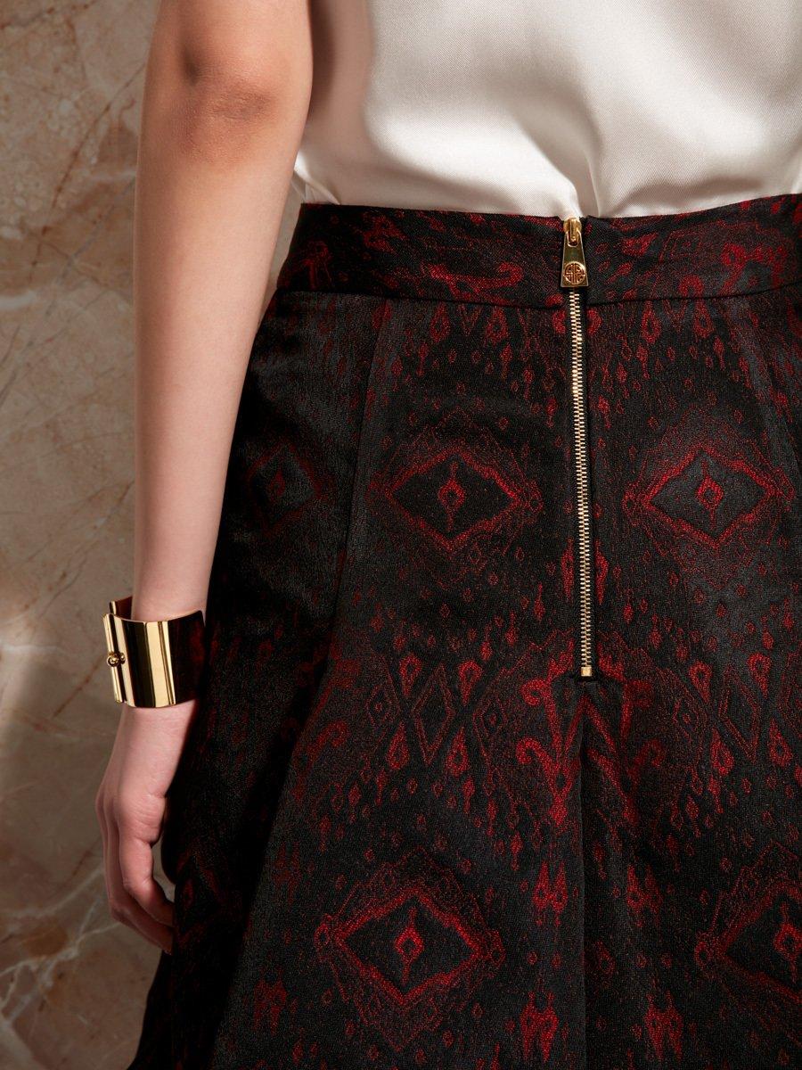 Ikat Jacquard Flared Skirt