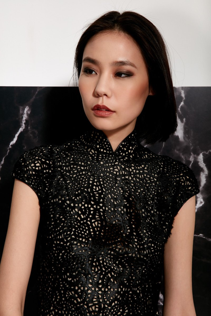 Calf Hair Qipao Dress with Laser Cut