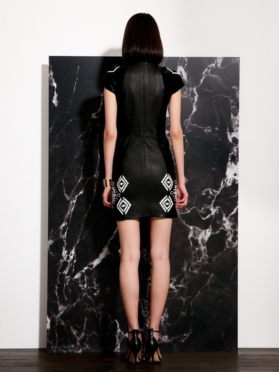 Calf Hair Qipao with Laser Embroidery