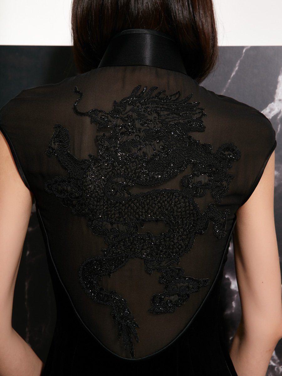 Velvet Qipao with Dragon Embroidery