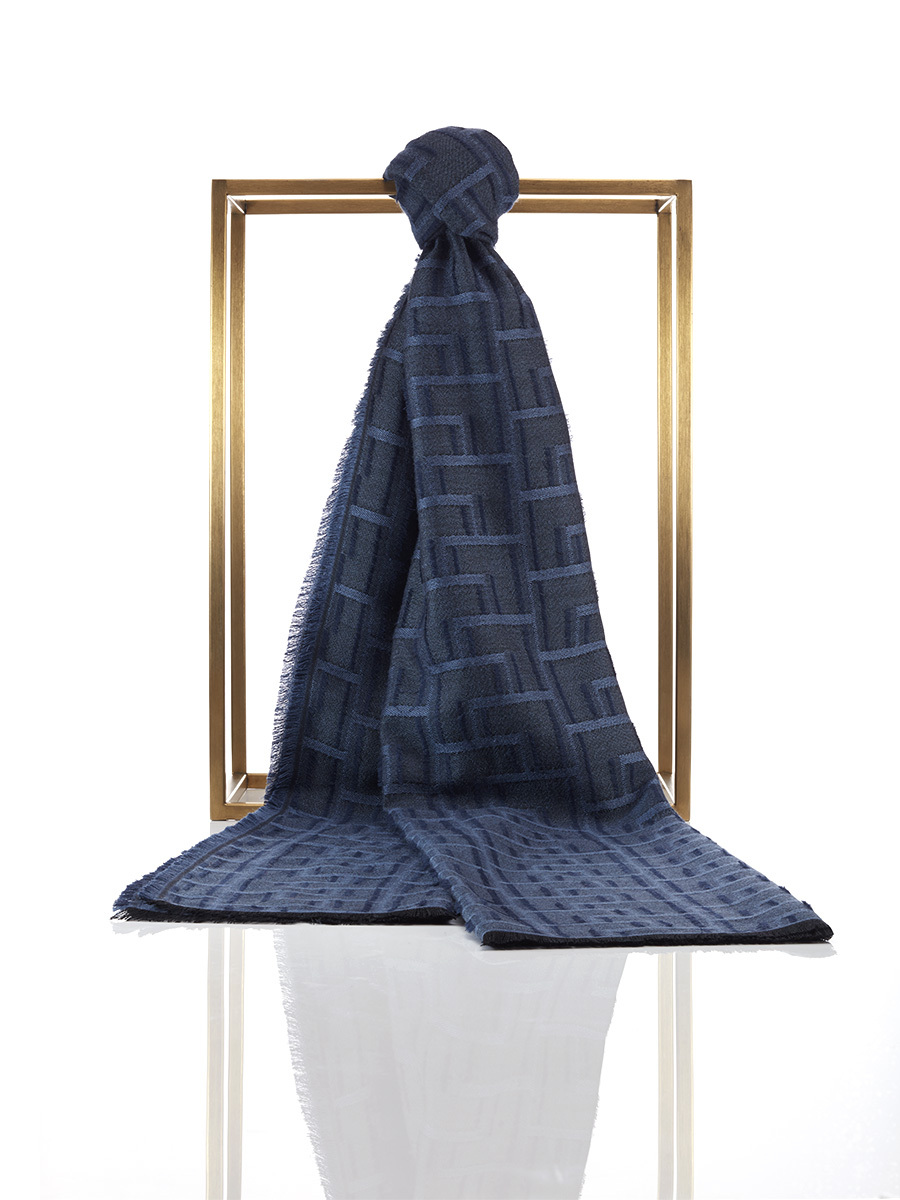 Silk Wool Fil Coupe Lattice Scarf