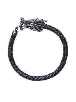Dragon 925 Silver Leather Bracelet