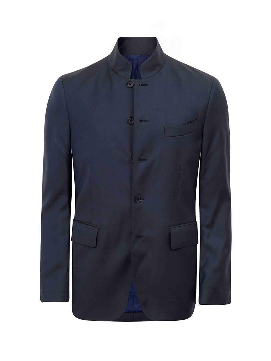 Wool Silk Suit Jacket with Pick Stitching
