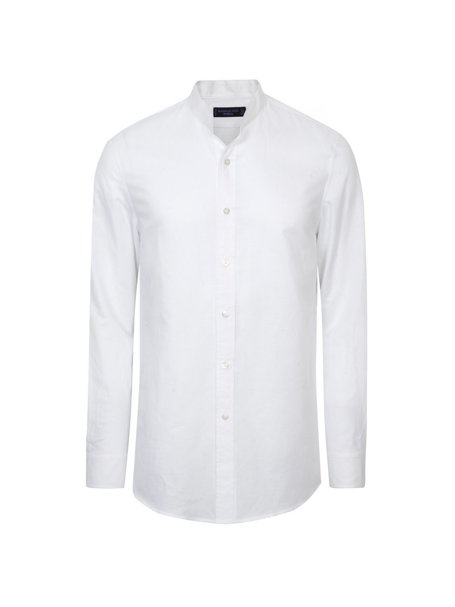 Linen-Cotton Single Button Collar Shirt
