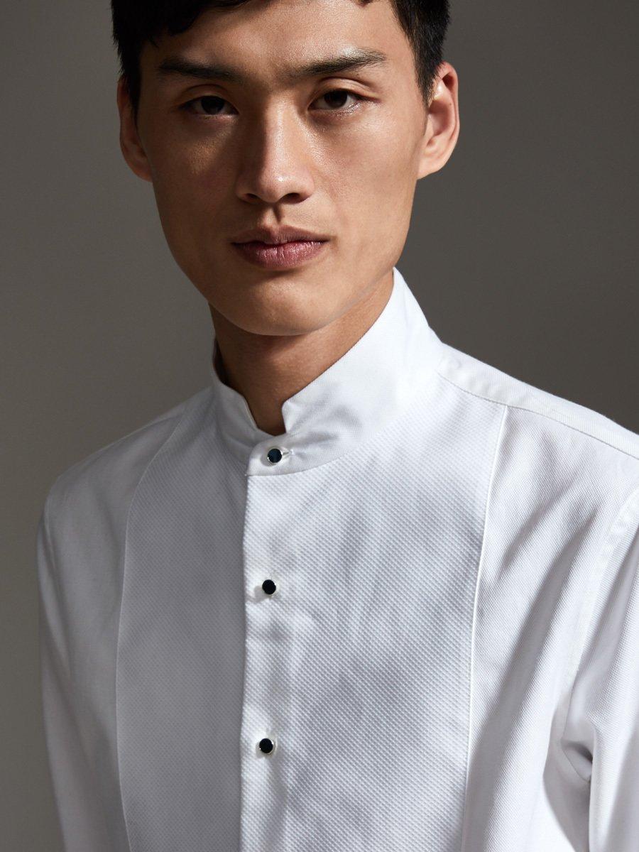 Seamless Stand Collar Tuxedo Shirt