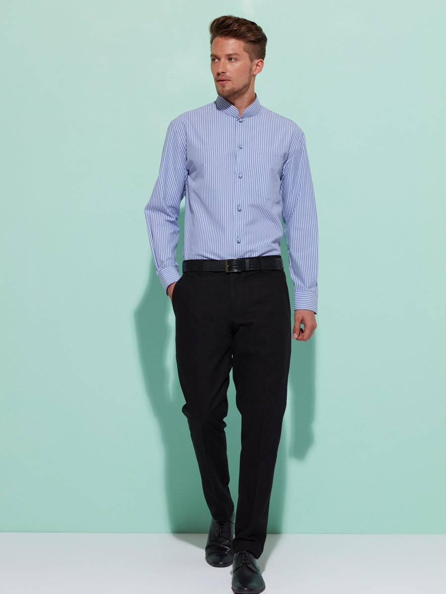 Cotton Stripe Shirt with Chinese Knot Buttons