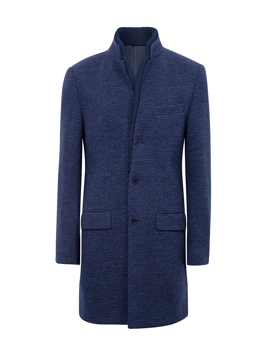 Fur Collar Wool Blend Coat (Slim Fit)