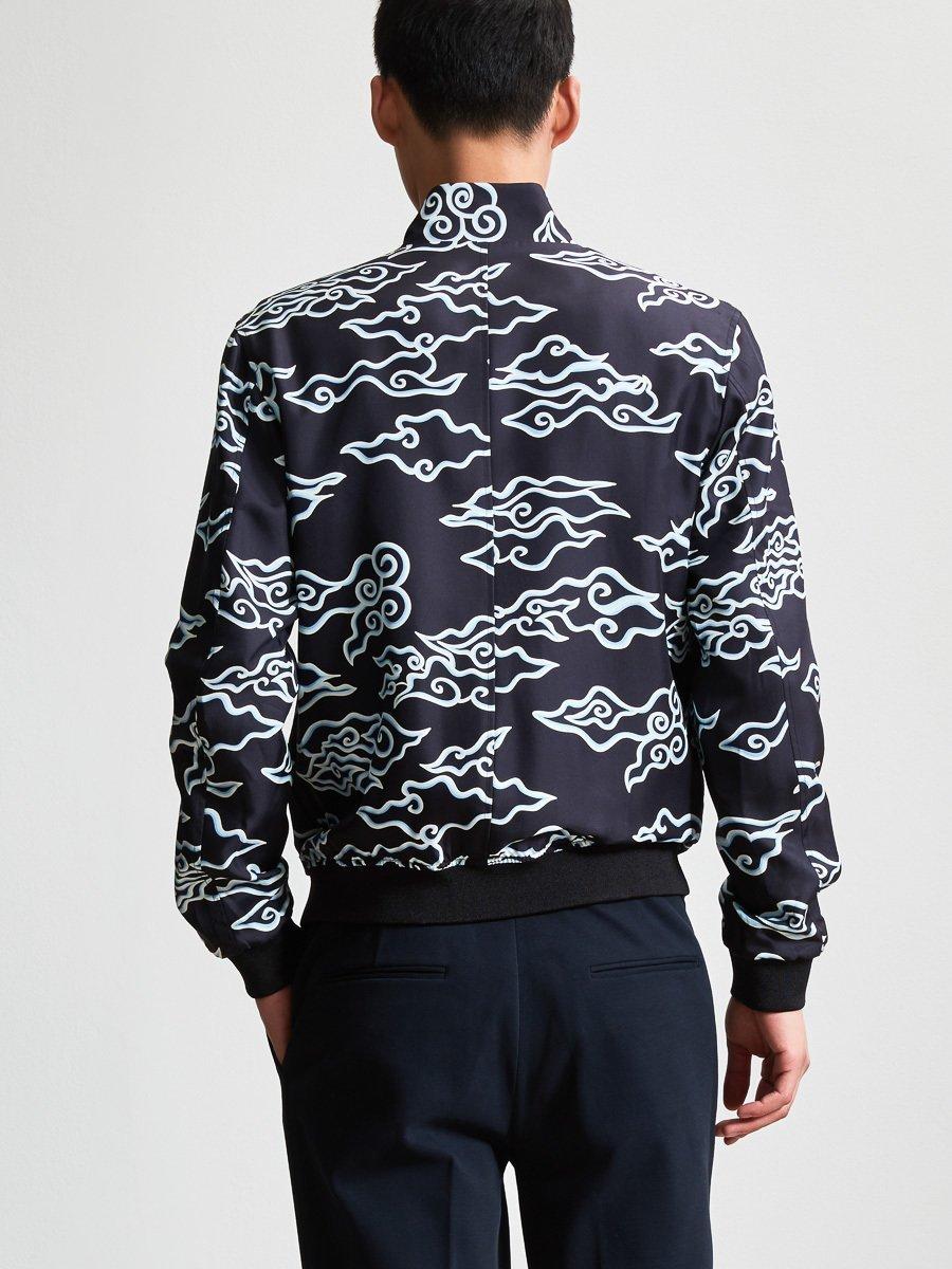 Cloud Printed Silk Bomber Jacket