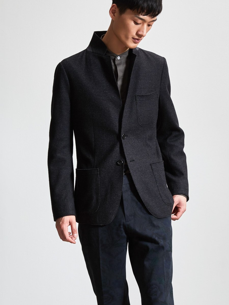 Cotton Wool Blend Knit Blazer (Slim Fit)