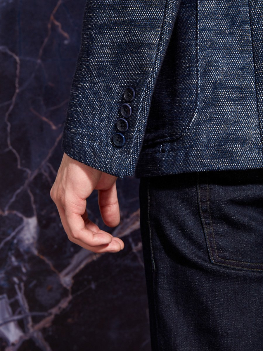 Cotton Polyester Indigo Blazer (Slim Fit)