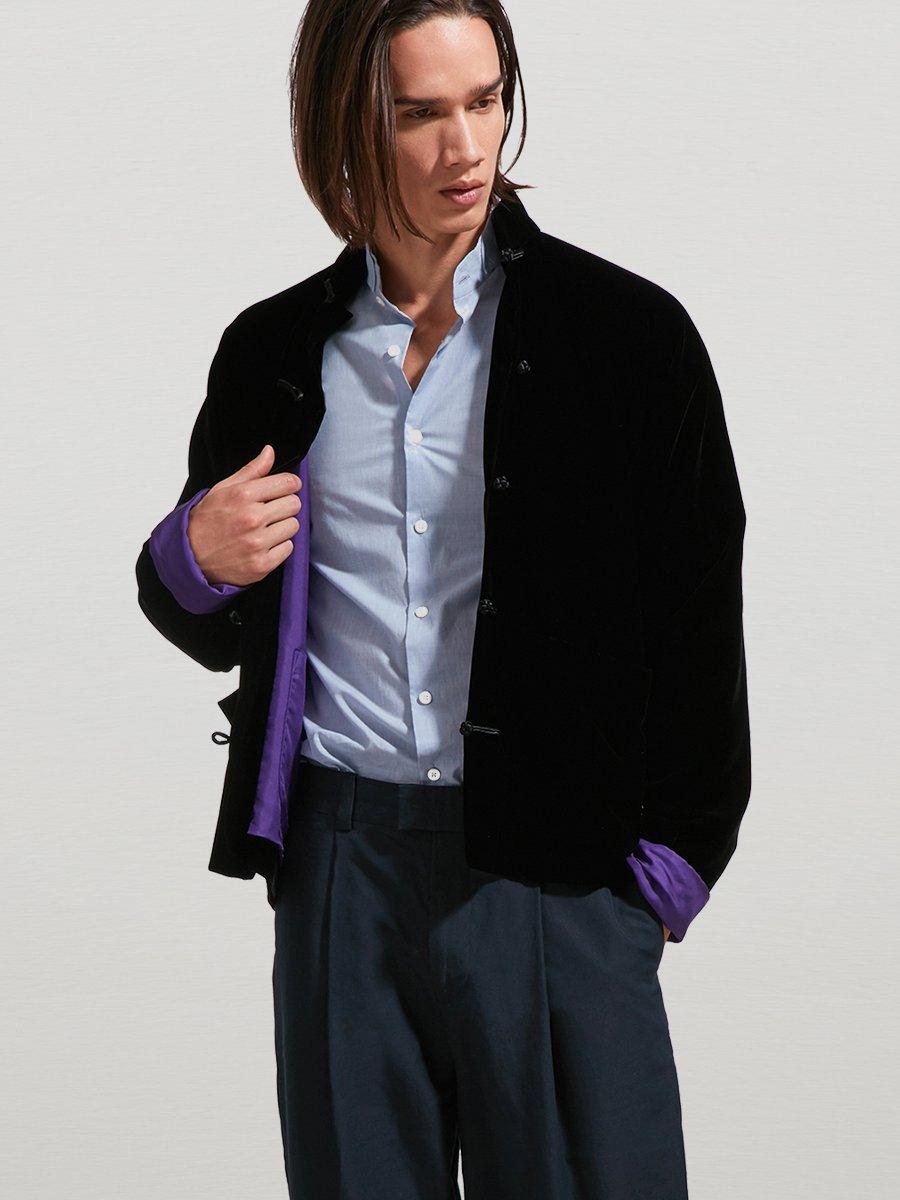 Rayon Velvet Short Tang Jacket