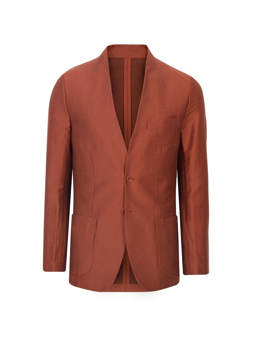 Linen-Polyamide Collarless Suit Jacket