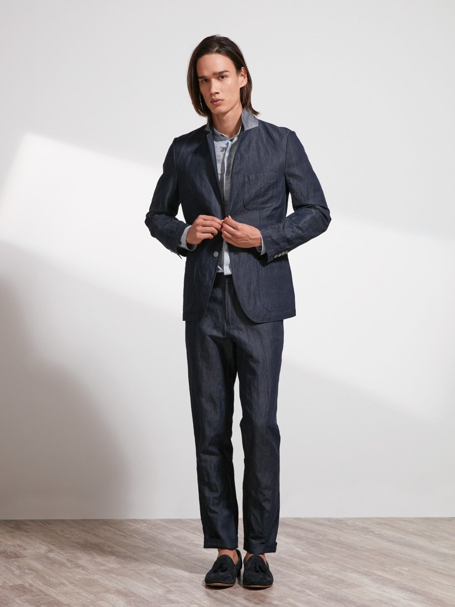 Cotton-Ramie-Metal Crinkle Suit Jacket (Slim Fit)