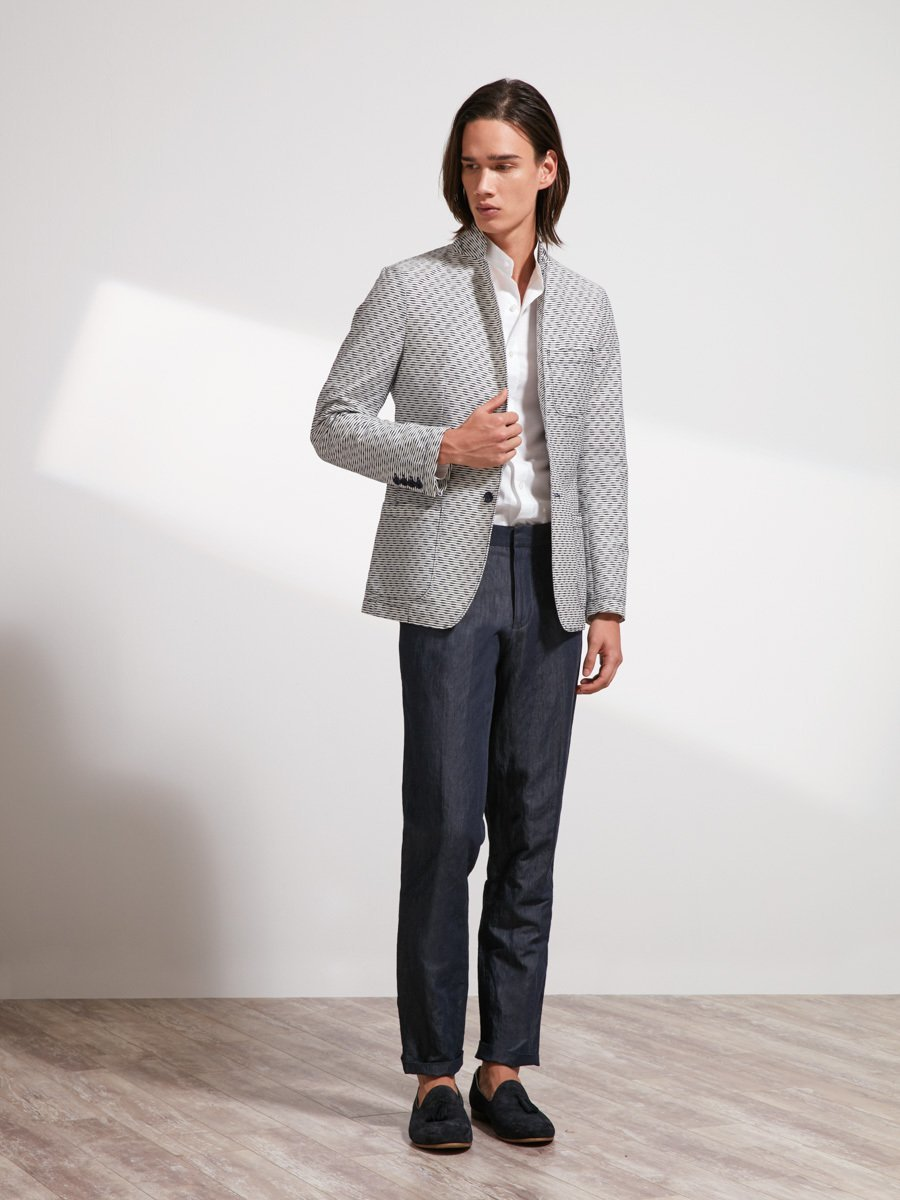 Cotton Blend Blazer (Slim Fit)
