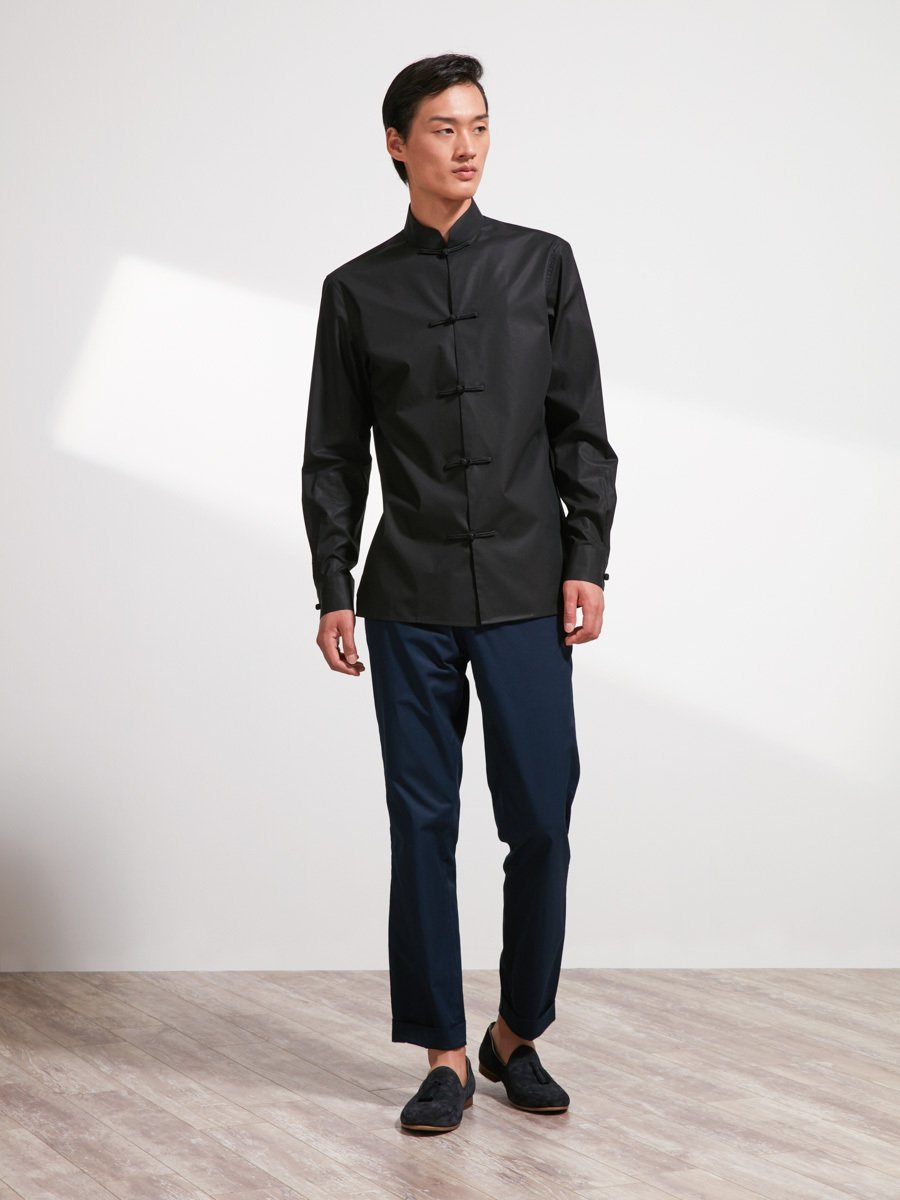 Cotton Shirt with Traditional Chinese Frog Buttons