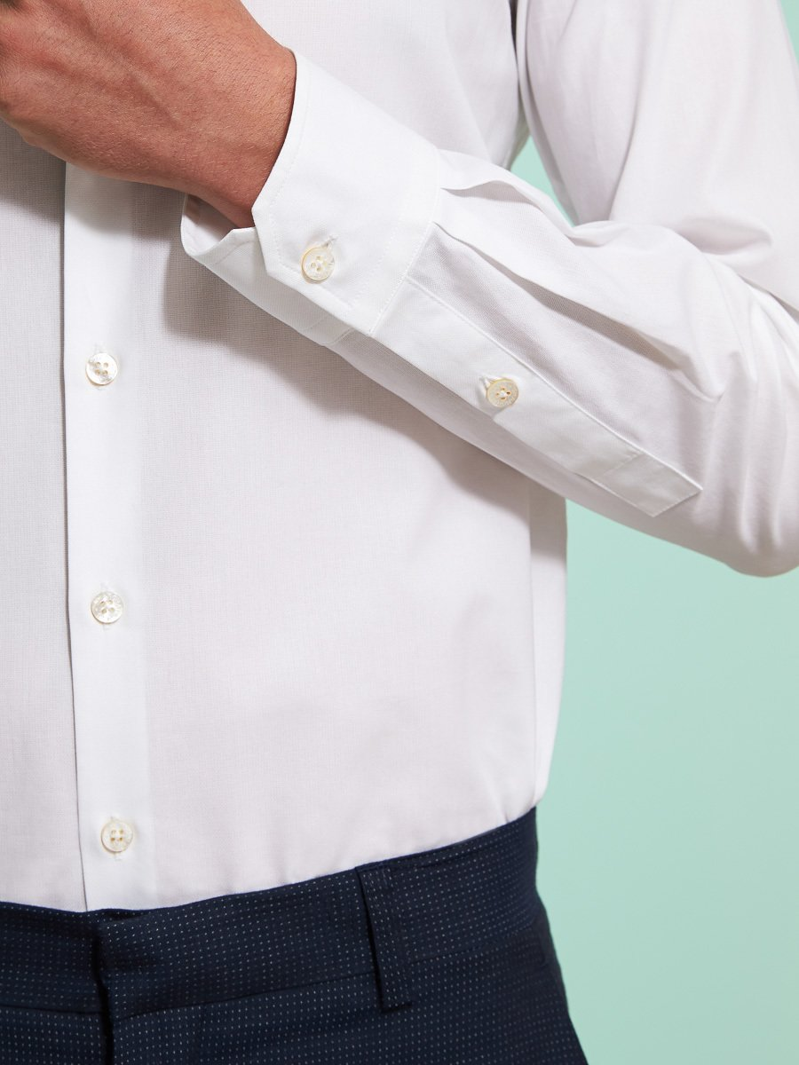 Cotton Pique Shirt With Straight Collar (Slim Fit)