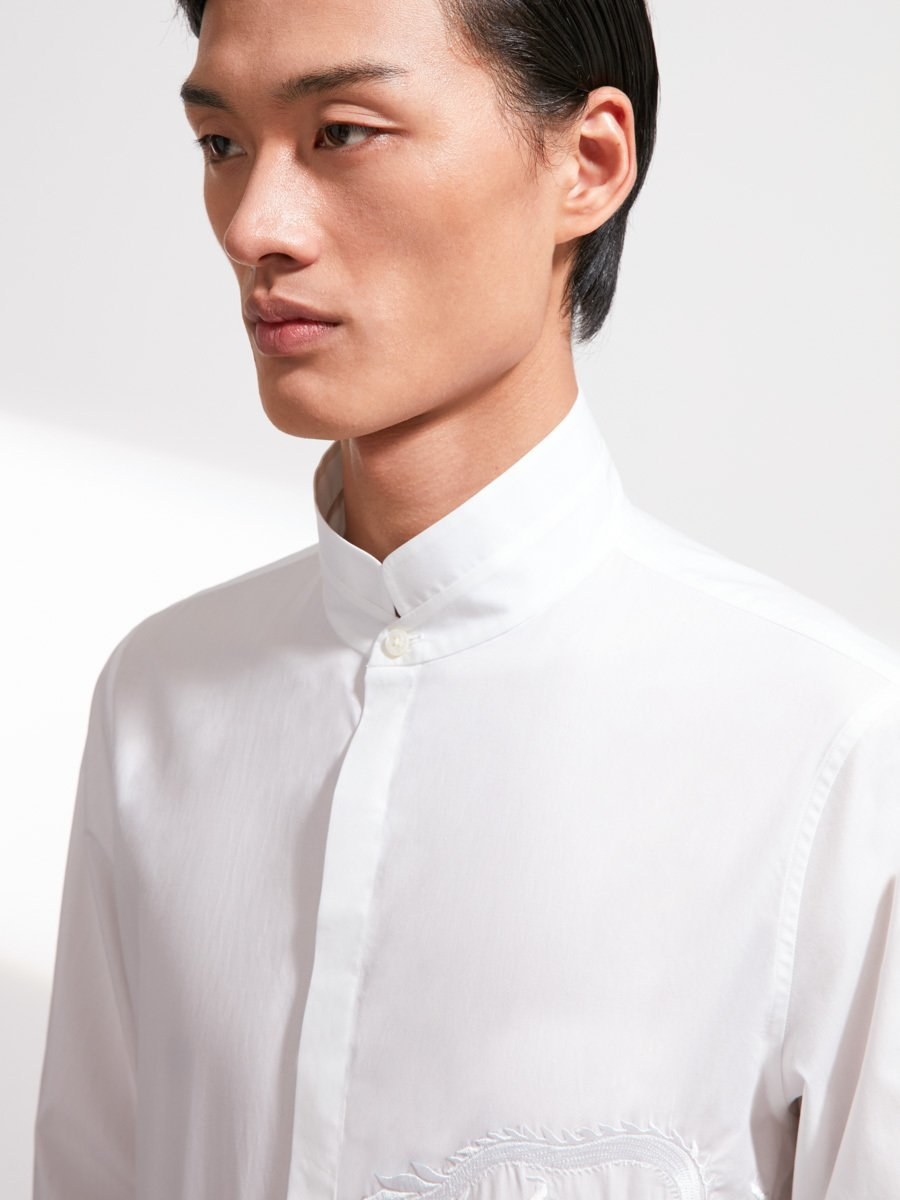 Cotton Mandarin Tip Collar Shirt with Dragon Embroidery