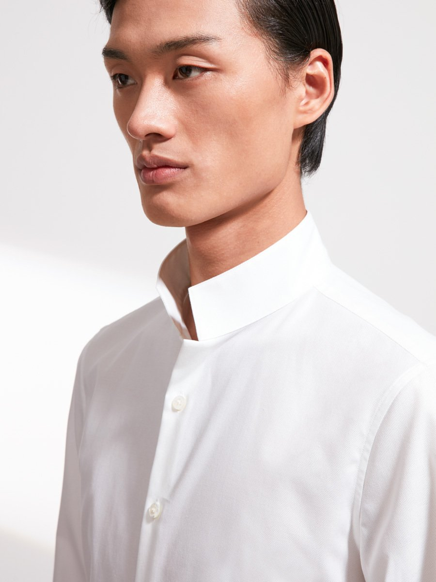 Cotton Pique Officer Collar Shirt
