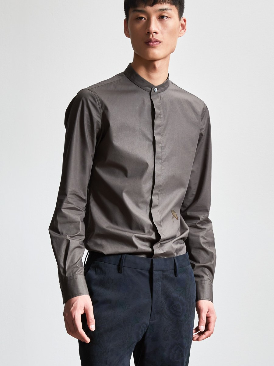 Cotton One Button Collar Shirt with Ginkgo Leaf