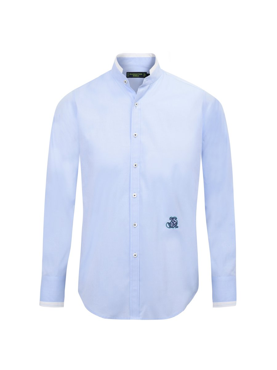 White Tip Cotton Shirt With Monkey Embroidery (Slim Fit)