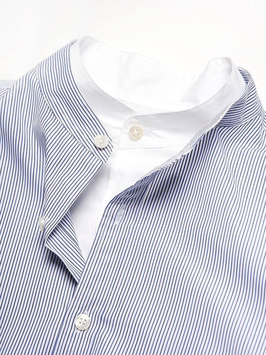 Cotton Striped Double Collar Shirt