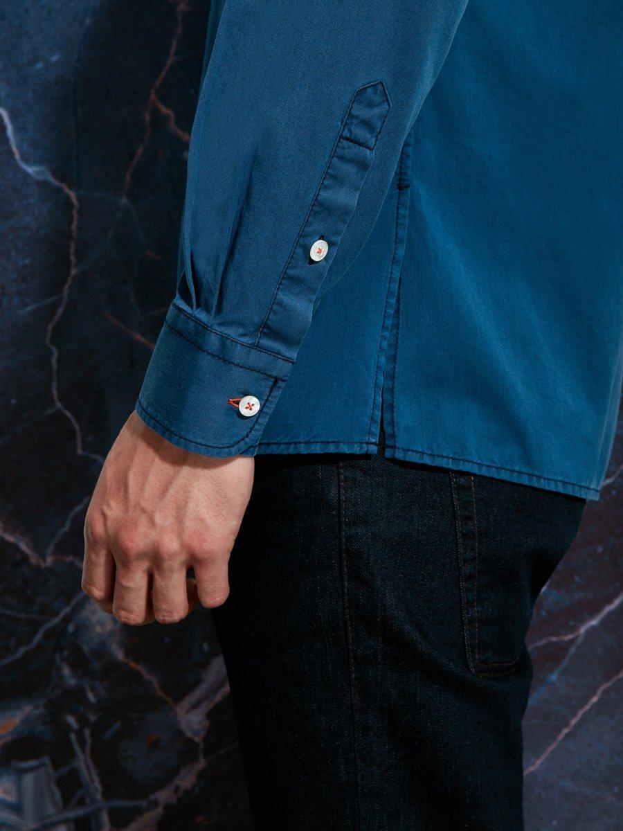 Indigo Cotton In & Out Collar Shirt
