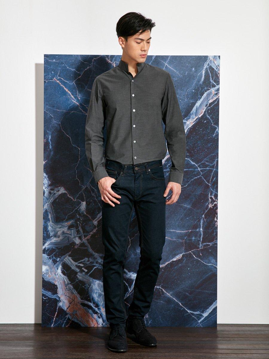 Cotton Melange Officer Collar Shirt (Slim Fit)